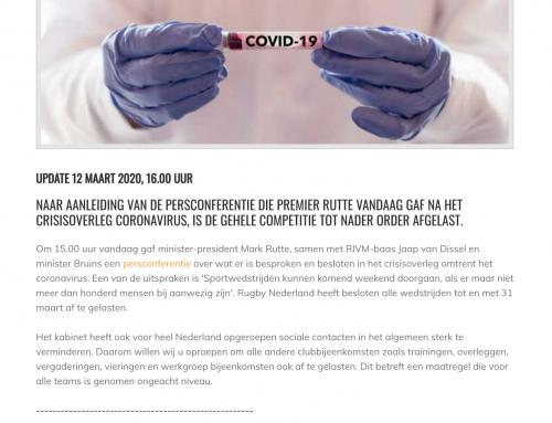 HET CORONAVIRUS EN RUGBY ACTIVITEITEN IN NEDERLAND